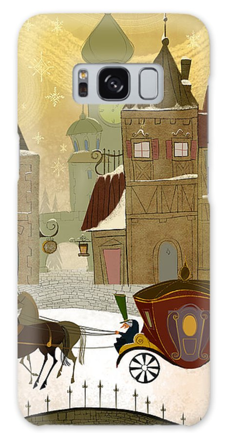 Horses Galaxy S8 Case featuring the painting Christmas In The Old World by Kristina Vardazaryan