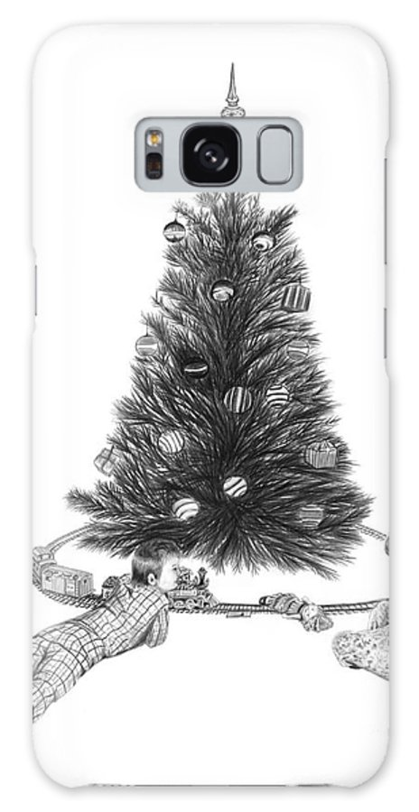 Christmas Cards Art Galaxy S8 Case featuring the drawing Christmas Morning Play by Peter Piatt