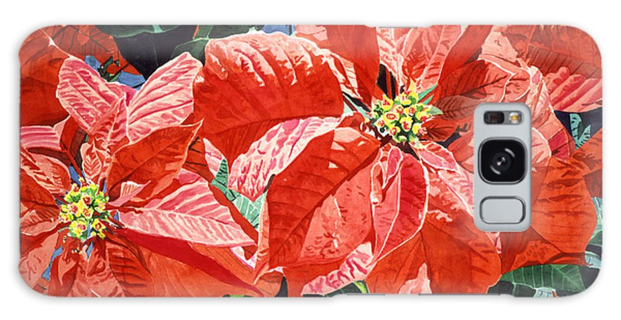 Christmas Galaxy S8 Case featuring the painting Christmas Poinsettia Magic by David Lloyd Glover