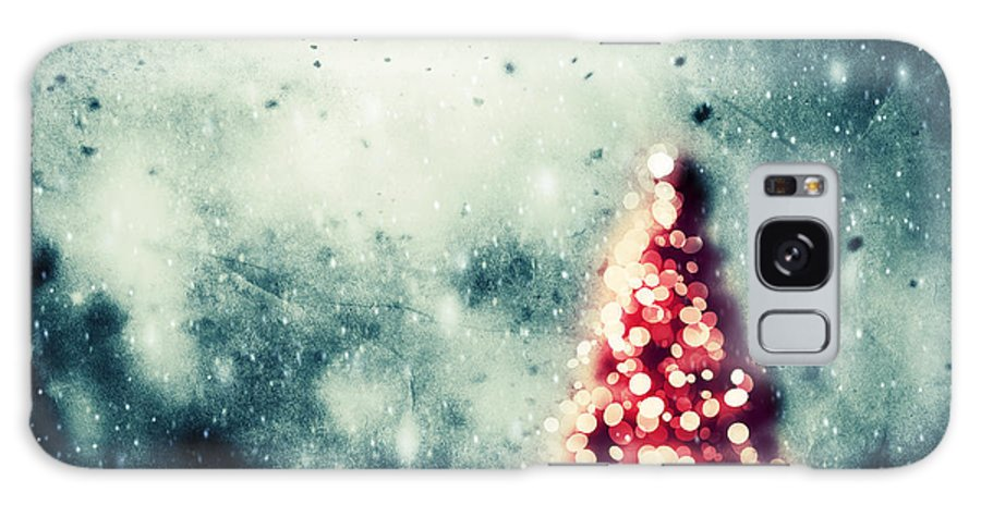 Tree Galaxy S8 Case featuring the photograph Christmas Tree Glowing On Winter Vintage Background by Michal Bednarek