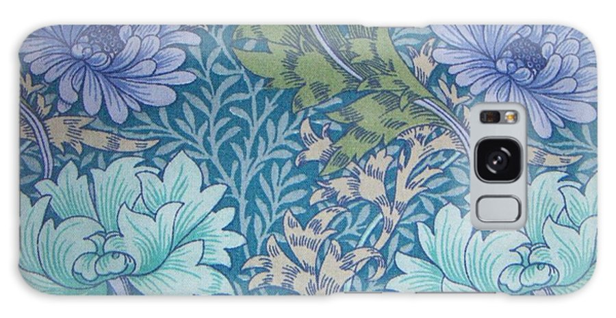 William Galaxy S8 Case featuring the tapestry - textile Chrysanthemums In Blue by William Morris