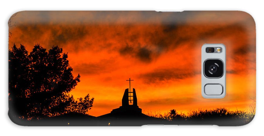 Sunset Galaxy S8 Case featuring the photograph Church Cross Lit By Tucson Sunset by Michael Moriarty