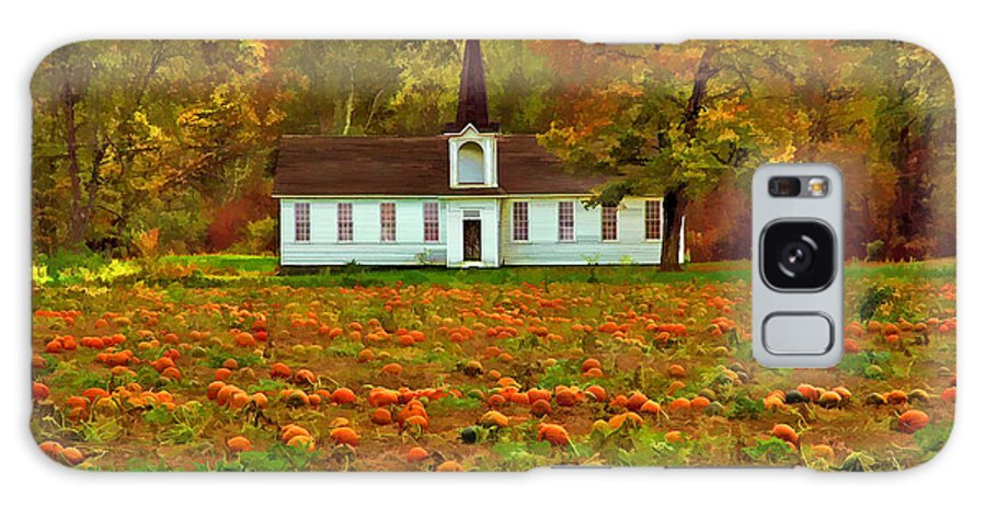 Autumn Landscape Of Pumpkin Patch With Country Church In The Background Galaxy S8 Case featuring the photograph Church In A Pumpkin Patch by Elaine Walsh