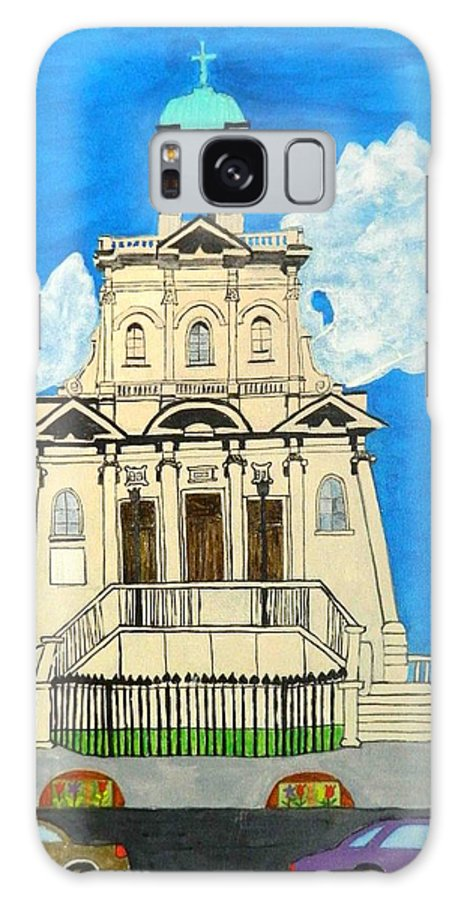 A City Scene Of A Church Downtown Toronto Canada Galaxy S8 Case featuring the painting Church Of Holy Saint .danforth by Lisa Faiz