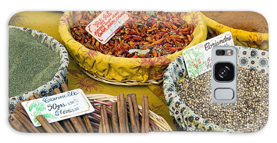 Market Day Lourmarin France Spice Spices Basket Baskets Markets Still Life Provence Galaxy S8 Case featuring the photograph Cinnamon And Spice by Bob Phillips