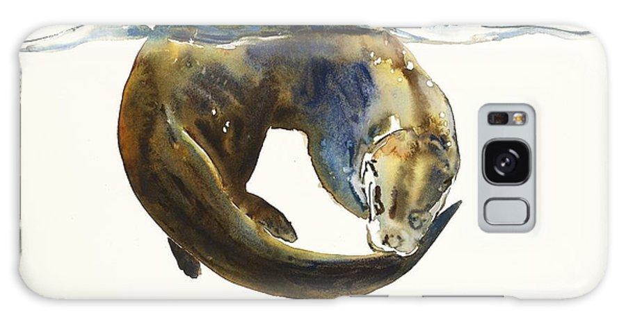 Otter; Otters; Animal; Animals; Water; Aqua; Lutra; Watercolour; Movement; Colour; Predator; Swim;swimming;intensity;action; Color; Watercolor; Water Color; Watercolor Painting; Paper; Blend; Blending; Blue; Brown; White; Hunt; Hunting; Hunter; Mark; Mark Adlington; Adlington Galaxy S8 Case featuring the painting Circle Of Life by Mark Adlington