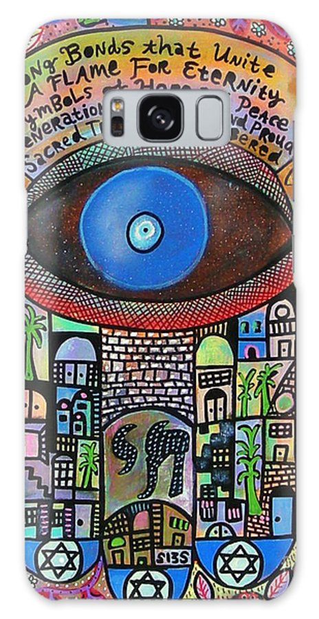 Galaxy S8 Case featuring the painting City Garden Hamsa by Sandra Silberzweig