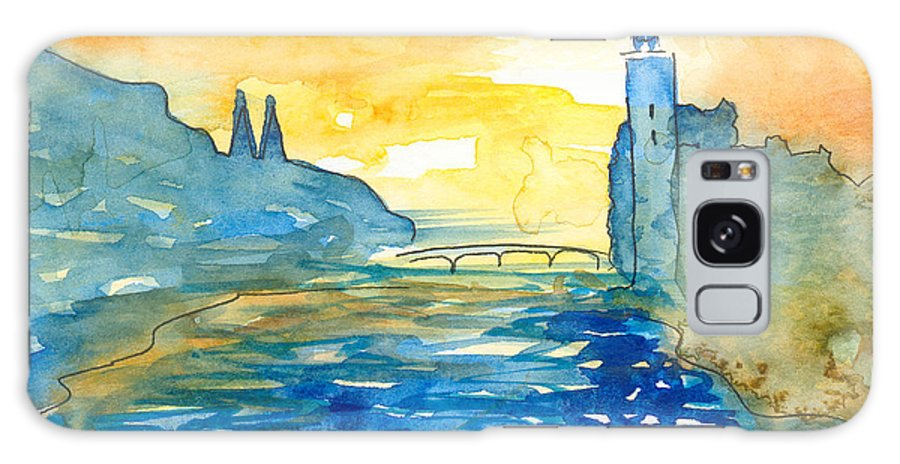 Landscape Galaxy S8 Case featuring the painting City Hall Stockholm by Ingela Christina Rahm
