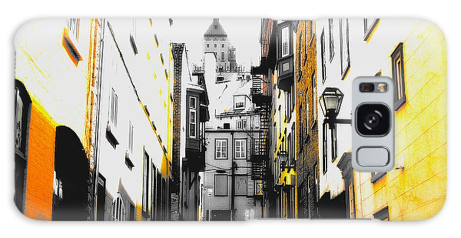 Quebec City Galaxy S8 Case featuring the photograph City Street Scene Black And Yellow Photograph by Laura Carter