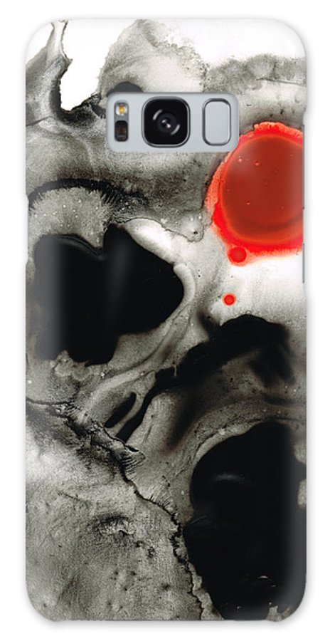 Red Galaxy S8 Case featuring the painting Clarity - Black And White Art Red Painting by Sharon Cummings