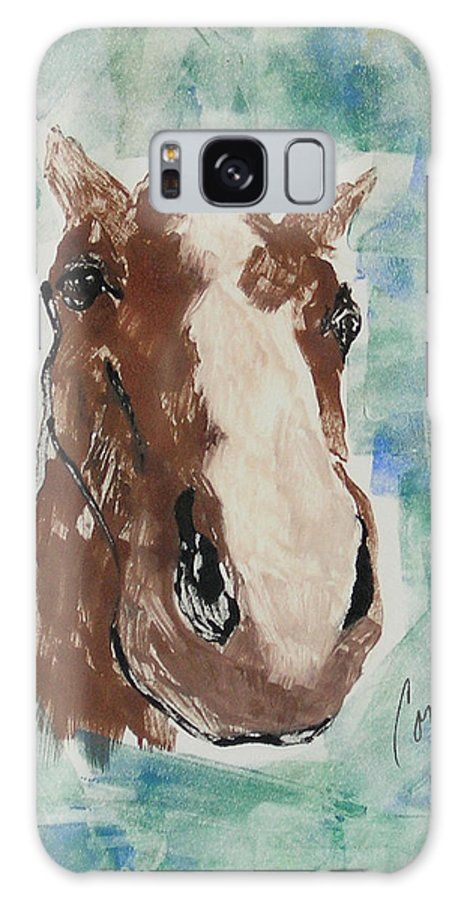 Horse Galaxy S8 Case featuring the mixed media Close Up by Cori Solomon