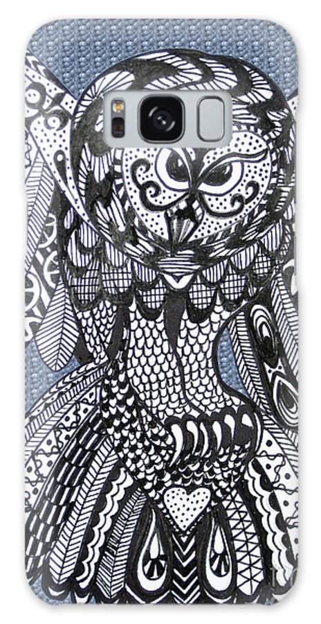 Owls Galaxy S8 Case featuring the drawing Close Up Owl Bubble by Karen Larter