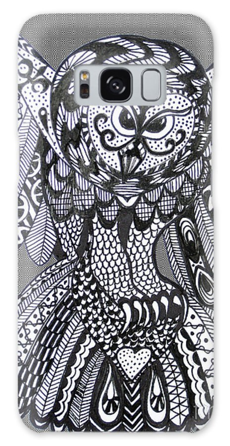 Owls Galaxy S8 Case featuring the drawing Close Up Owl Grey by Karen Larter