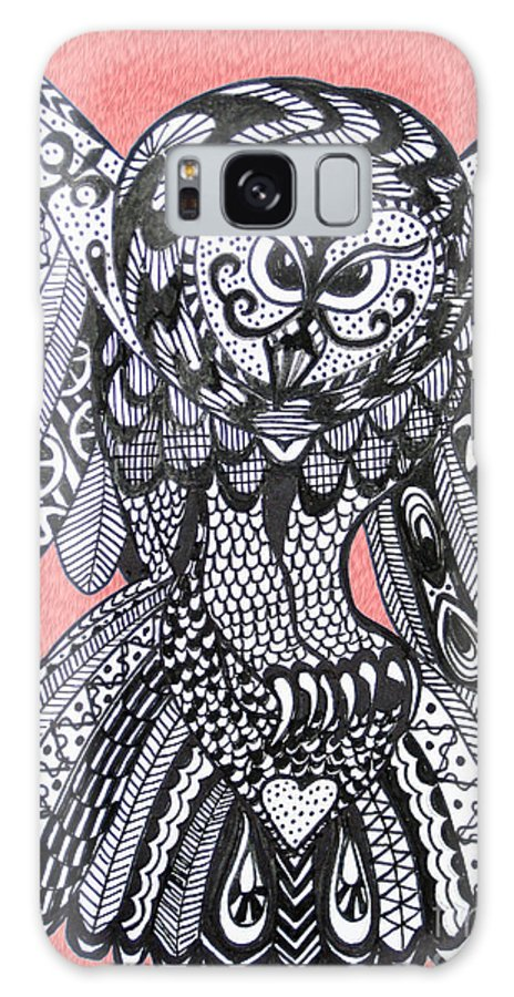 Owls Galaxy S8 Case featuring the drawing Close Up Owl Pink by Karen Larter