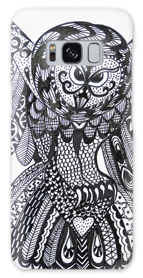 Owls Galaxy S8 Case featuring the drawing Close Up Owl White by Karen Larter
