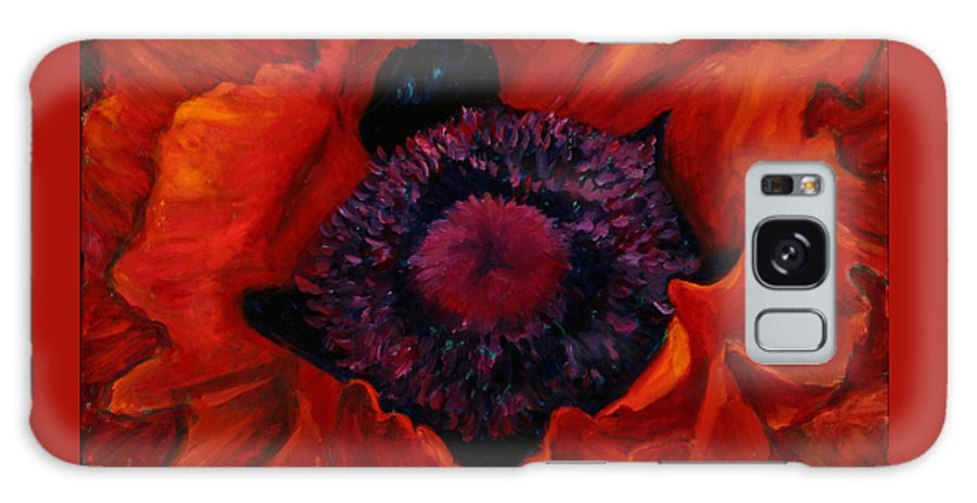 Red Poppy Galaxy Case featuring the painting Close Up Poppy by Billie Colson