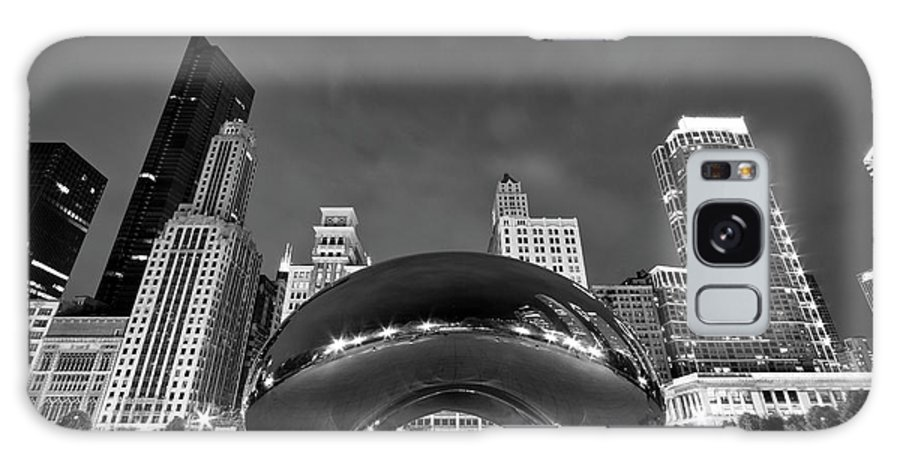 3scape Galaxy Case featuring the photograph Cloud Gate And Skyline by Adam Romanowicz
