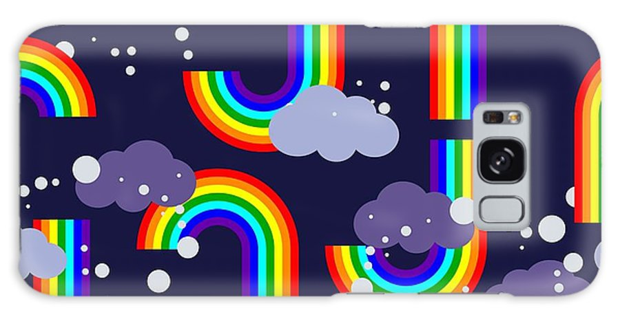 Atmosphere Galaxy S8 Case featuring the digital art Clouds And Rainbow Cartoon Wallpaper by Tomka