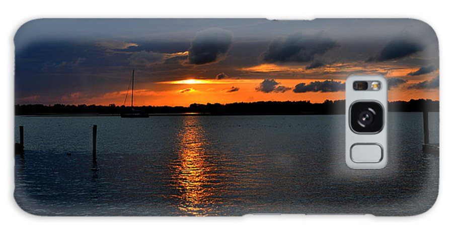 Sunset Galaxy S8 Case featuring the photograph Cloudy Harbor Sunset by Amy Lucid