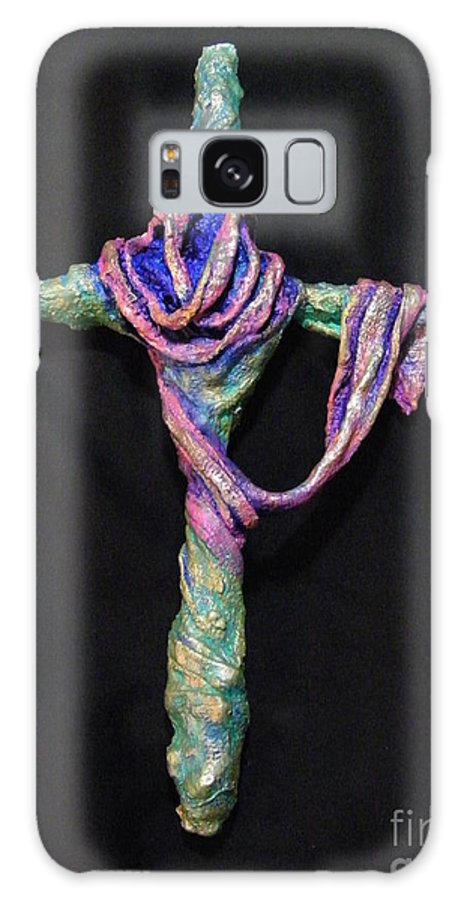 Christ Galaxy S8 Case featuring the sculpture Coat Of Many Colors by Jan Reid