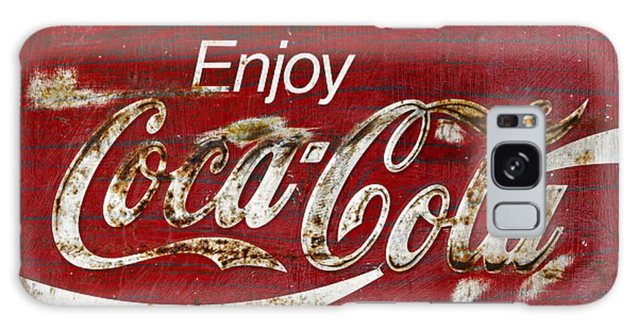 Coca Cola Galaxy S8 Case featuring the photograph Coca Cola Wood Grunge Sign by John Stephens