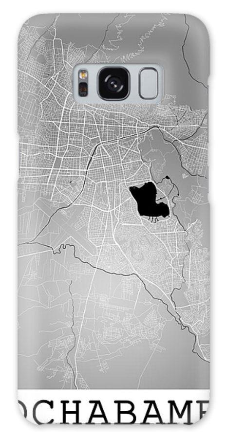Road Map Galaxy S8 Case featuring the digital art Cochabamba Street Map - Cochabamba Bolivia Road Map Art On Color by Jurq Studio
