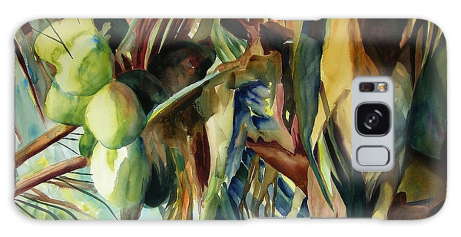 Original Paintings Galaxy S8 Case featuring the painting Coconuts And Palm Fronds 5-16-11 Julianne Felton by Julianne Felton