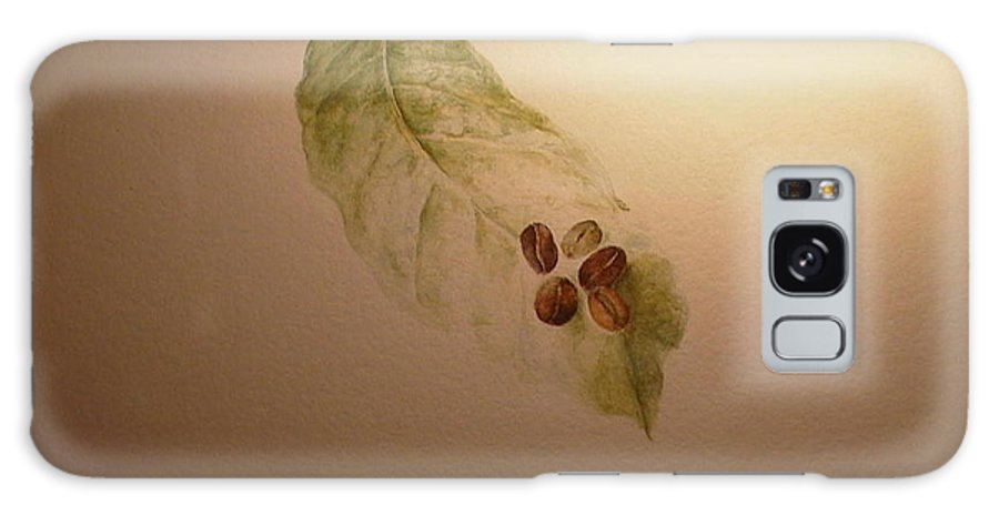 Coffee Beans Galaxy S8 Case featuring the painting Coffee Beans On Coffea Arabica Leaf by Laura Hamill