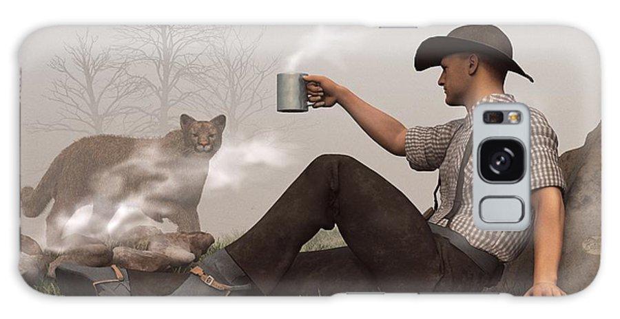 Cowboy Galaxy S8 Case featuring the digital art Coffee With A Cougar by Daniel Eskridge