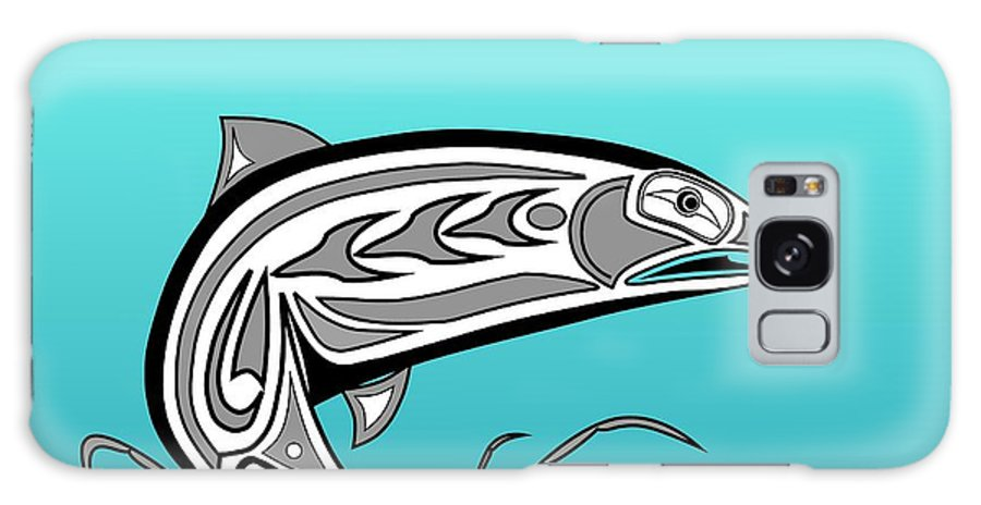 Haida Point Art Galaxy S8 Case featuring the drawing Coho Salmon by Fred Croydon