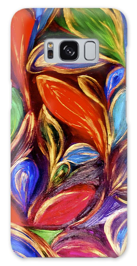 Colorful Galaxy S8 Case featuring the painting Color Meets Gold by Maries Joseph