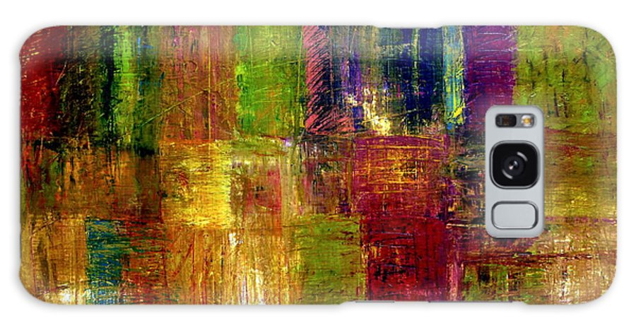 Abstract Galaxy Case featuring the painting Color Panel Abstract by Michelle Calkins