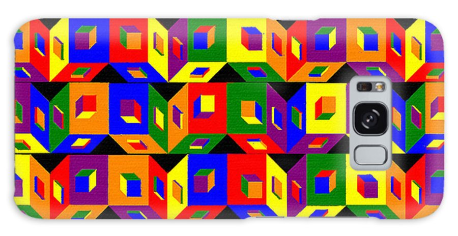 Colored Cubes Galaxy Case featuring the painting Colored Cubes by Pharris Art