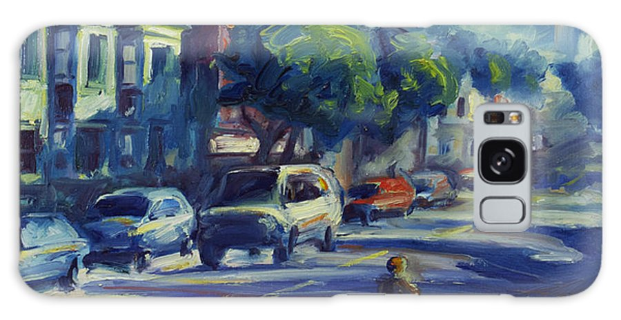 Cityscape Galaxy Case featuring the painting Columbus Street by Rick Nederlof
