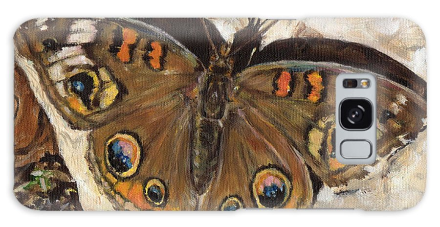 Butterfly Galaxy S8 Case featuring the painting Common Buckeye by Monique Hoch