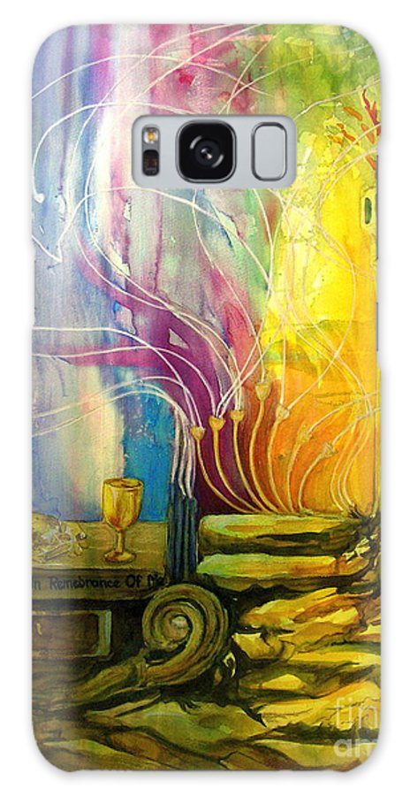Faith Based Art. Galaxy S8 Case featuring the painting Communion Table by Genie Morgan