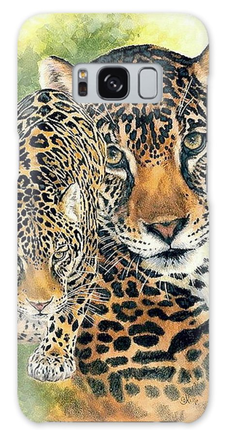 Jaguar Galaxy S8 Case featuring the mixed media Compelling by Barbara Keith