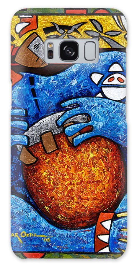Puerto Rico Galaxy Case featuring the painting Conga on Fire by Oscar Ortiz