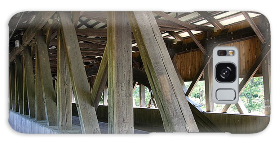 Jackson Covered Bridge Galaxy S8 Case featuring the photograph Construction Under The Roof - Jackson Covered Bridge Nh by Christiane Schulze Art And Photography