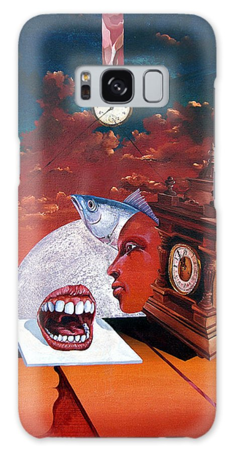 Otto+rapp Surrealism Surreal Fantasy Time Clocks Watch Consumption Galaxy Case featuring the painting Consumption Of Time by Otto Rapp
