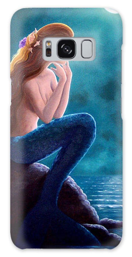 Mermaid Art Galaxy Case featuring the painting Contemplation by Brenda Ellis Sauro