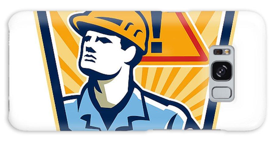 Contractor Galaxy S8 Case featuring the digital art Contractor Construction Worker Caution Sign Retro by Aloysius Patrimonio