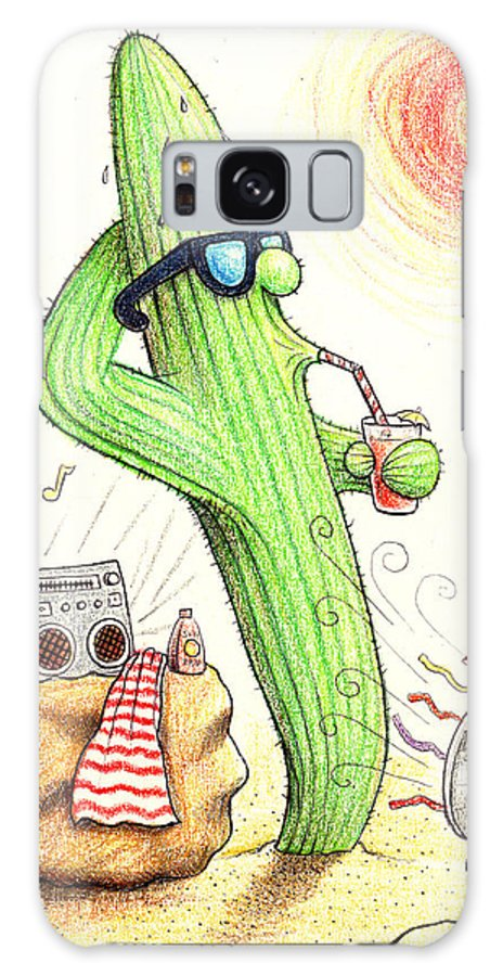 Cactus Town Galaxy S8 Case featuring the drawing Cooler Cactus by Cristophers Dream Artistry