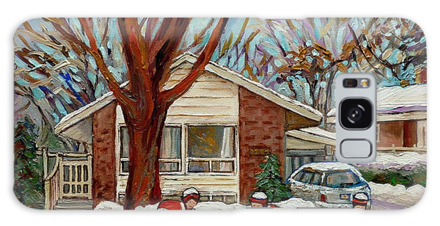 Hockey Galaxy S8 Case featuring the painting Cormac And Friends Neighborhood Hockey Game Ottawa Suburban City Scene by Carole Spandau