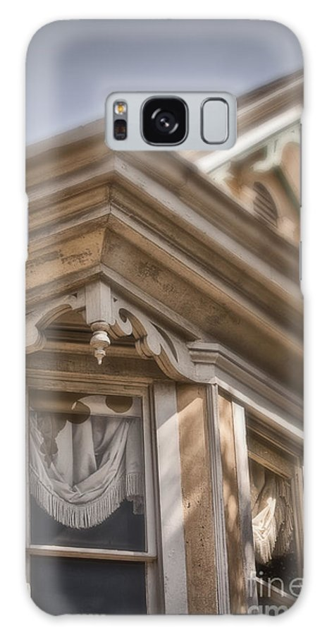 House; Home; Facade; Windows; Peak; Details; Gingerbread; Victorian; Ornate; Architecture; Building; Drapes; Curtains; Corner; Wood; Peeling; Painted; Fringe; Old; Upstairs Galaxy S8 Case featuring the photograph Corner Window by Margie Hurwich