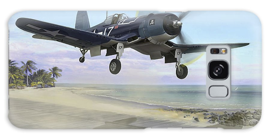 Airplane Galaxy Case featuring the painting Corsair Takeoff Vf-17 Jolly Rogers by Mark Karvon