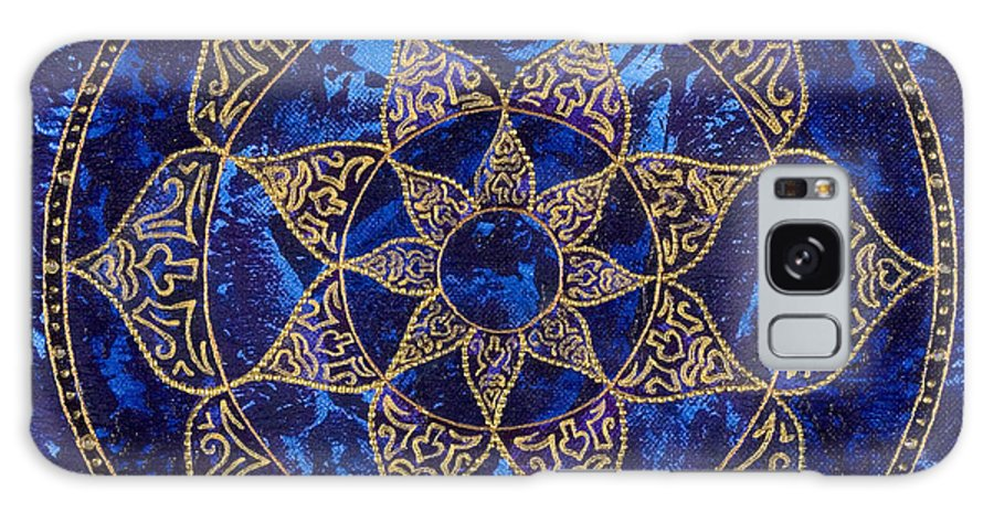 Mandala Galaxy S8 Case featuring the painting Cosmic Blue Lotus by Charlotte Backman