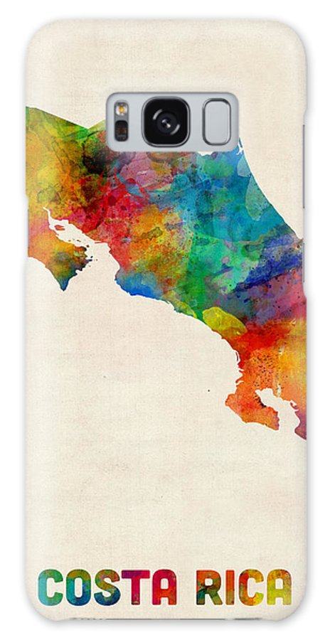 Map Art Galaxy S8 Case featuring the digital art Costa Rica Watercolor Map by Michael Tompsett