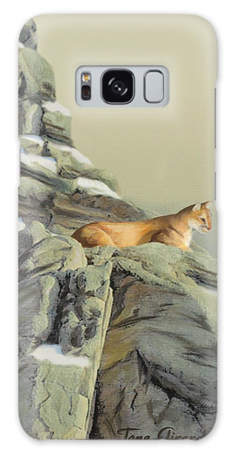 Cougar Galaxy S8 Case featuring the painting Cougar Perch by Jane Girardot