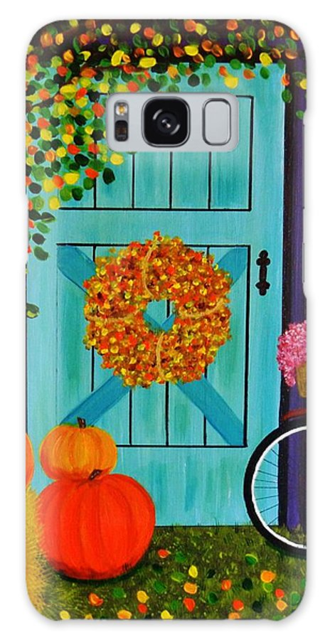 Fall Country Scene With Colorful Leaves And Pumpkins Art Prints Galaxy S8 Case featuring the painting Country Autumn by Celeste Manning